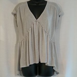 Self Esteem Short Sleeve V-neck Gray Blouse Top XL